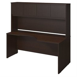 Bush BBF Series C Elite 72W Right Curve Computer Desk in Mocha Cherry