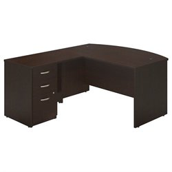 Bush BBF Series C Elite 60W x 36D Bow Desk Office Set in Mocha Cherry