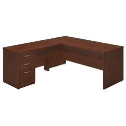 Bush BBF Series C Elite 66W x 30D L Desk Office Set in Hansen Cherry