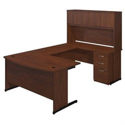 Bush BBF Series C Elite 60W x 36D C Leg U Office Set in Hansen Cherry