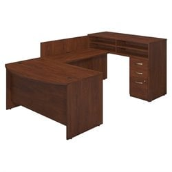 Series C Elite 60W x 36D Bow Front U Station with Standing Height Desk and Storage