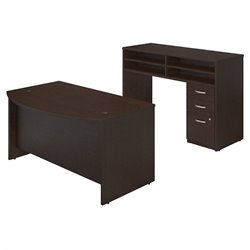 Series C Elite 60W x 36D Bow Front Desk Shell with Standing Height Desk and Storage