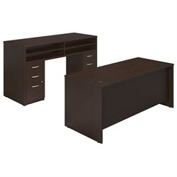 Bush BBF Series C Elite 72W x 30D Standing Office Set in Mocha Cherry