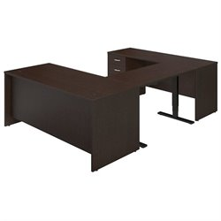 Bush BBF Series C Elite 72W U Station Office Set in Mocha Cherry