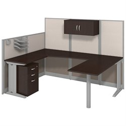 Bush BBF Office-in-an-Hour U Workstation with Storage in Mocha Cherry