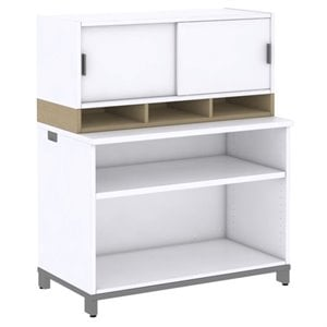 Bush Business Momentum 2 Shelf Bookcase with Hutch in Natural Maple