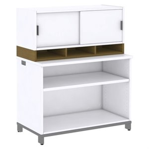 Bush Business Momentum 2 Shelf Bookcase with Hutch in Modern Cherry