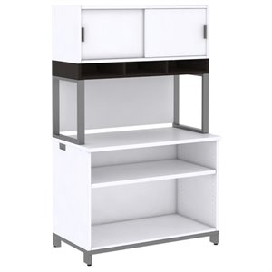Bush Business Momentum 2 Shelf Bookcase with Hutch on Riser