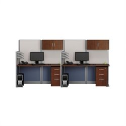 Bush BBF Office-in-an-Hour Straight 2 Desk Workstation with Storage in Hansen Cherry