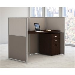 Bush BBF Easy Office 3 Drawer Wood Computer Desk in Mocha Cherry