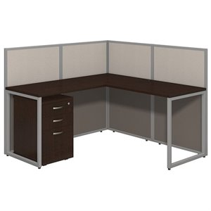 Bush Business Easy Office 3 Drawer L Computer Desk in Mocha Cherry