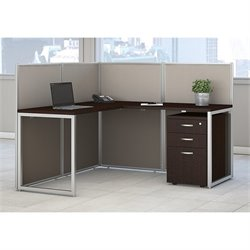Bush BBF Easy Office 3 Drawer L Shaped Computer Desk in Mocha Cherry