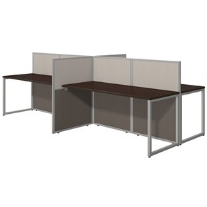 Bush Business Easy Office Wood Computer Desk for Four in Mocha Cherry