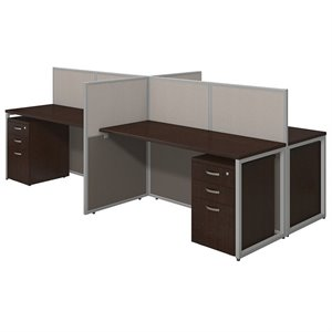 Bush Business Easy Office 3 Drawer Wood Computer Desk for Four