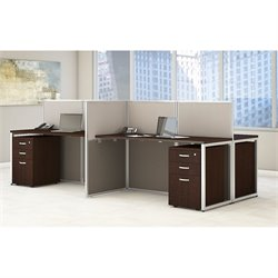 Bush BBF Easy Office 3 Drawer Wood Computer Desk for Four