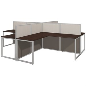 Bush Business Easy Office L Computer Desk for Four in Mocha Cherry