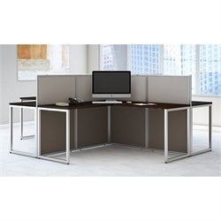 Bush BBF Easy Office L Shaped Computer Desk for Four in Mocha Cherry