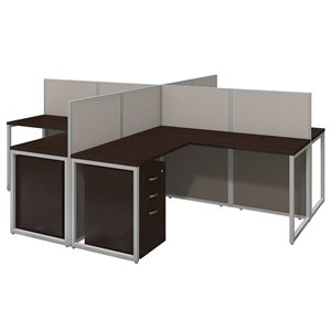 Bush Business Easy Office 3 Drawer L Shaped Computer Desk for Four