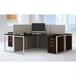 Bush BBF Easy Office 3 Drawer L Shaped Wood Computer Desk for Four