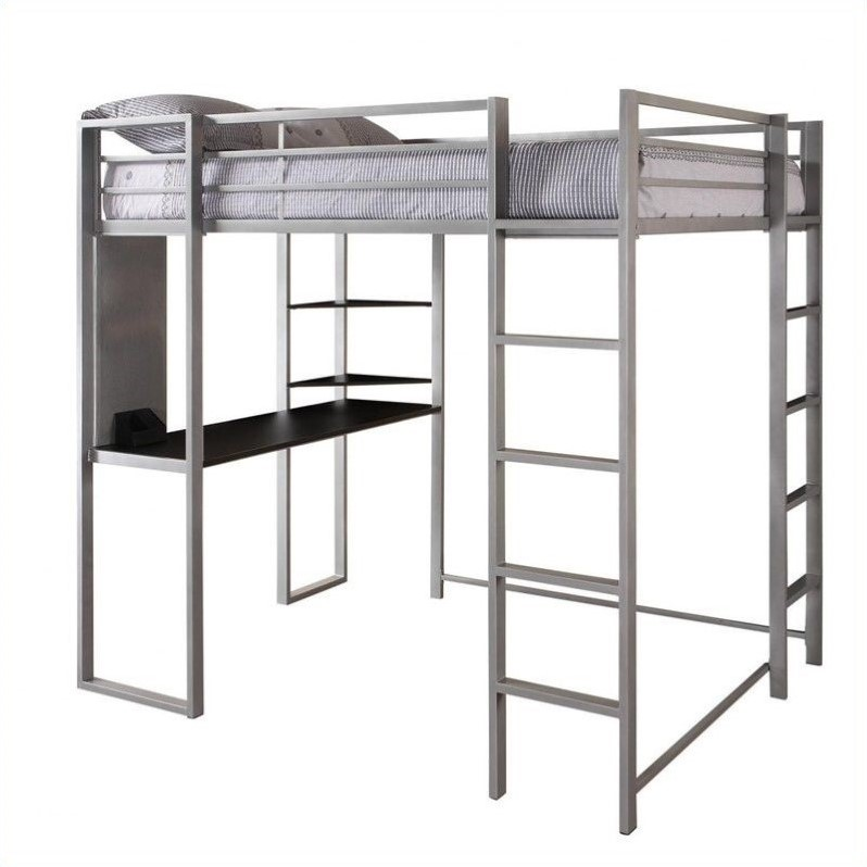 DHP Abode Metal Full Loft Bed in Silver with Desk