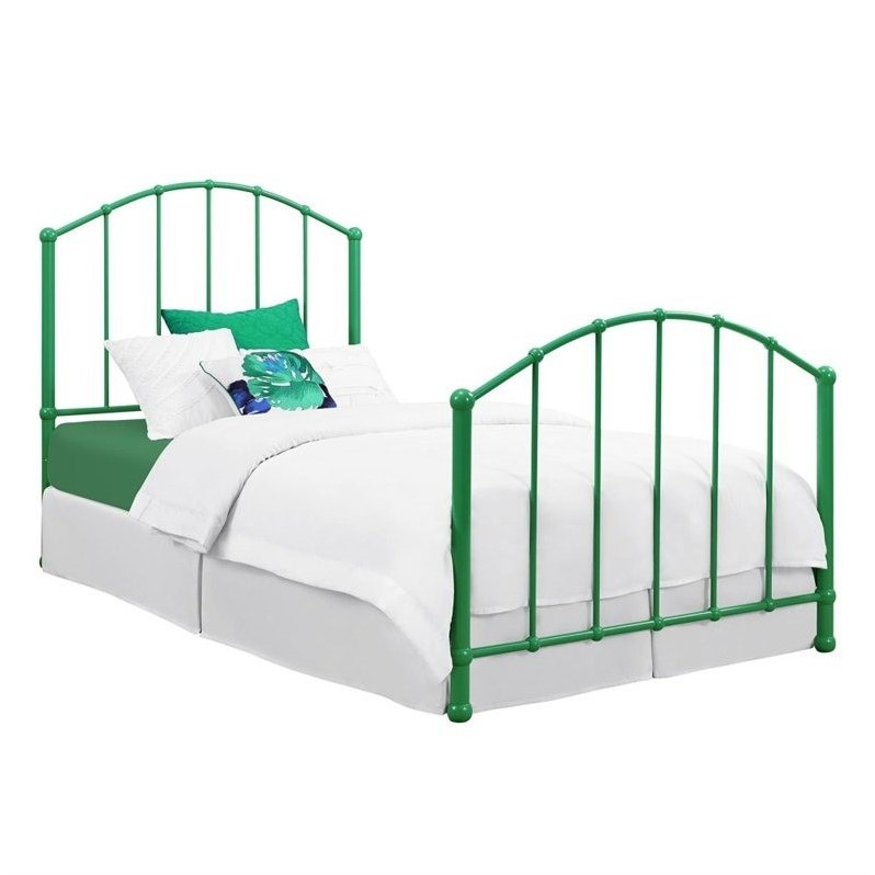 DHP BrickMill Ivy Metal Twin Bed in Green