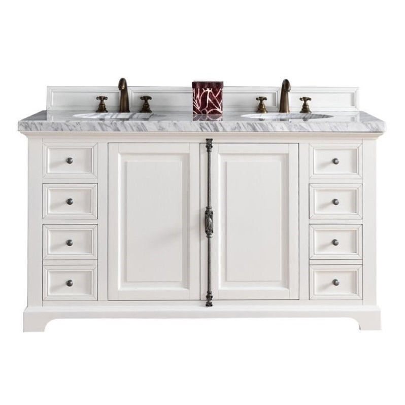 James Martin Providence 60 Double Bathroom Vanity in White-No Top