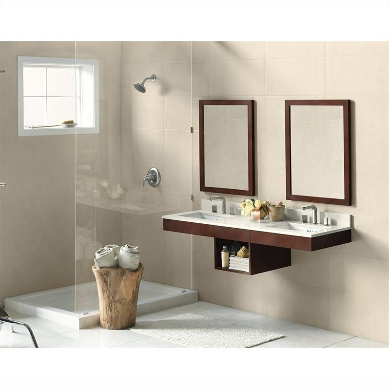 Ronbow Adina 61 Wall Mount Double Bathroom Vanity and Mirrors in Dark Cherry