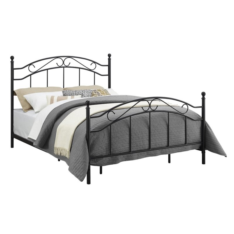 Dorel Living Queen Metal Bed in Black