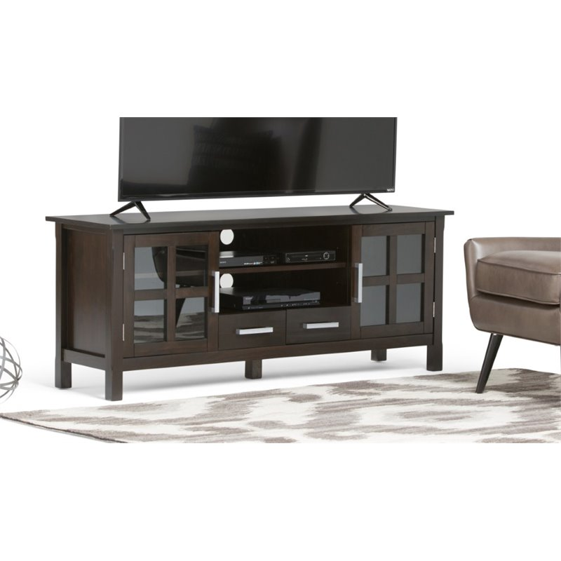 Simpli Home Kitchener 60 Wide TV Stand in Dark Walnut Brown