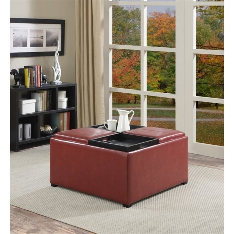 Simpli home avalon faux leather coffee table storage ottoman in red ebay Red leather ottoman coffee table