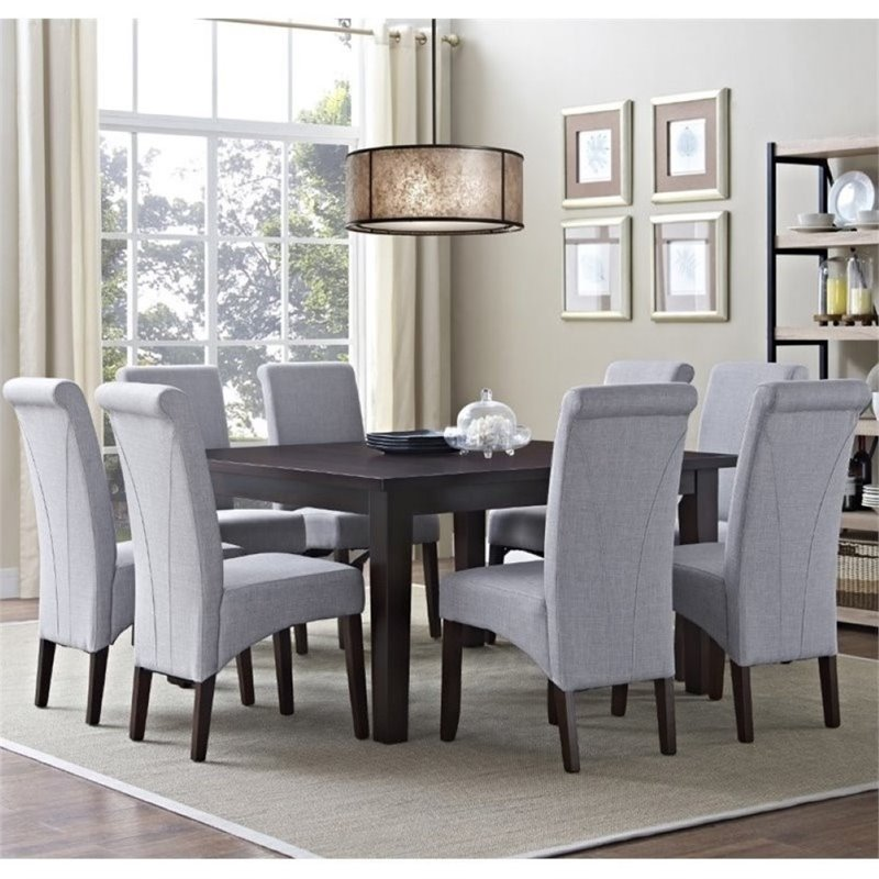 Simpli Home Avalon 9 Piece Dining Set in Dove Gray