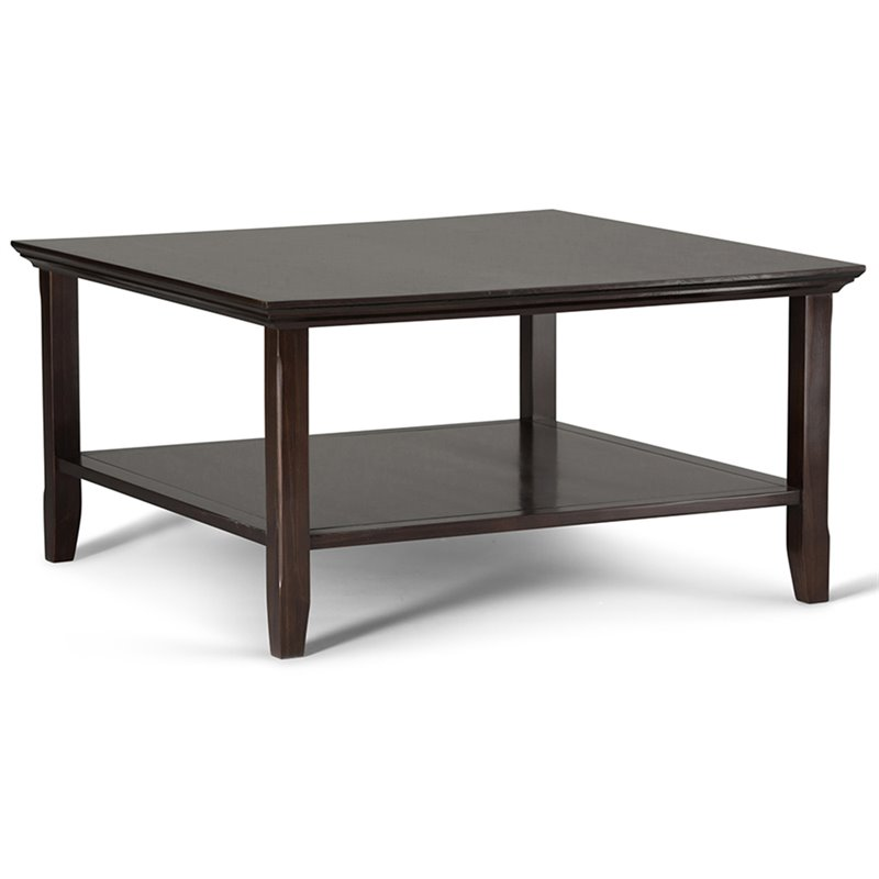 Simpli Home Acadian Square Coffee Table in Tobacco Brown