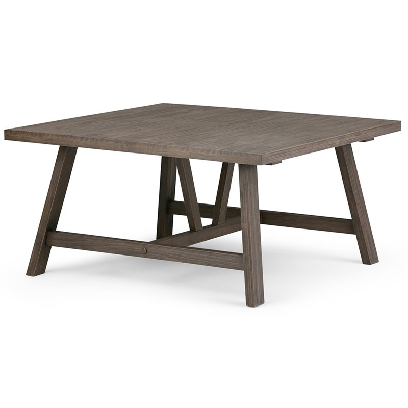 Simpli Home Dylan Square Coffee Table in Driftwood