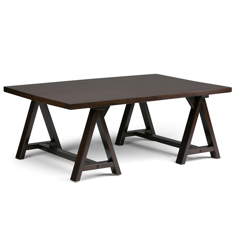 Simpli Home Sawhorse Coffee Table in Dark Chestnut Brown