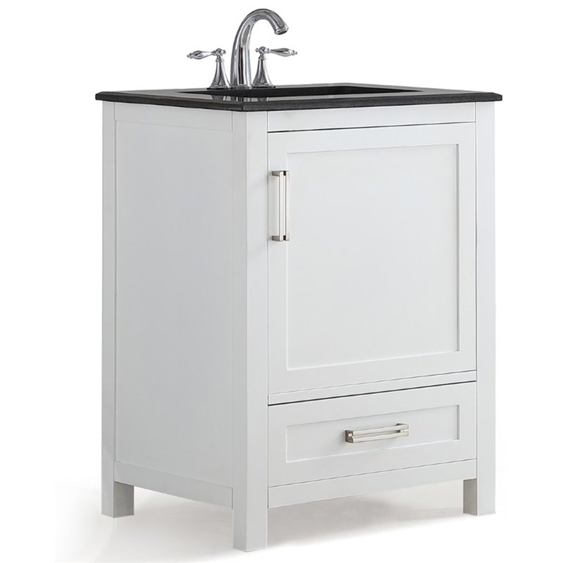 Simpli Home Evan 24 Black Granite Top Bathroom Vanity in White