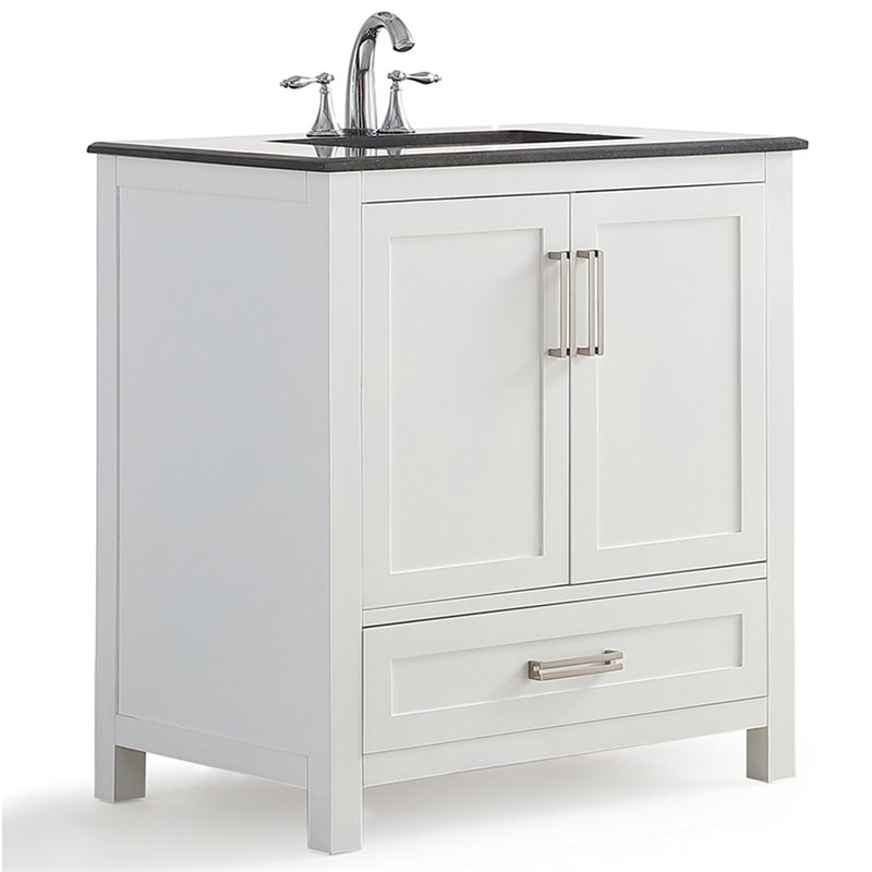 Simpli Home Evan 30 Black Granite Top Bathroom Vanity in White