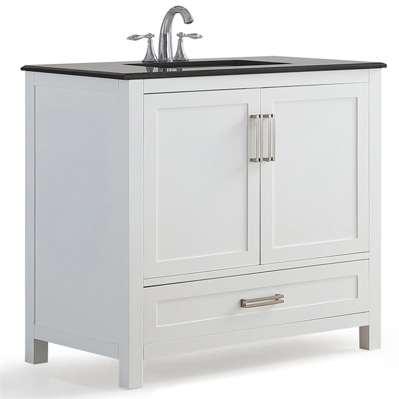Simpli Home Evan 36 Black Granite Top Bathroom Vanity in White