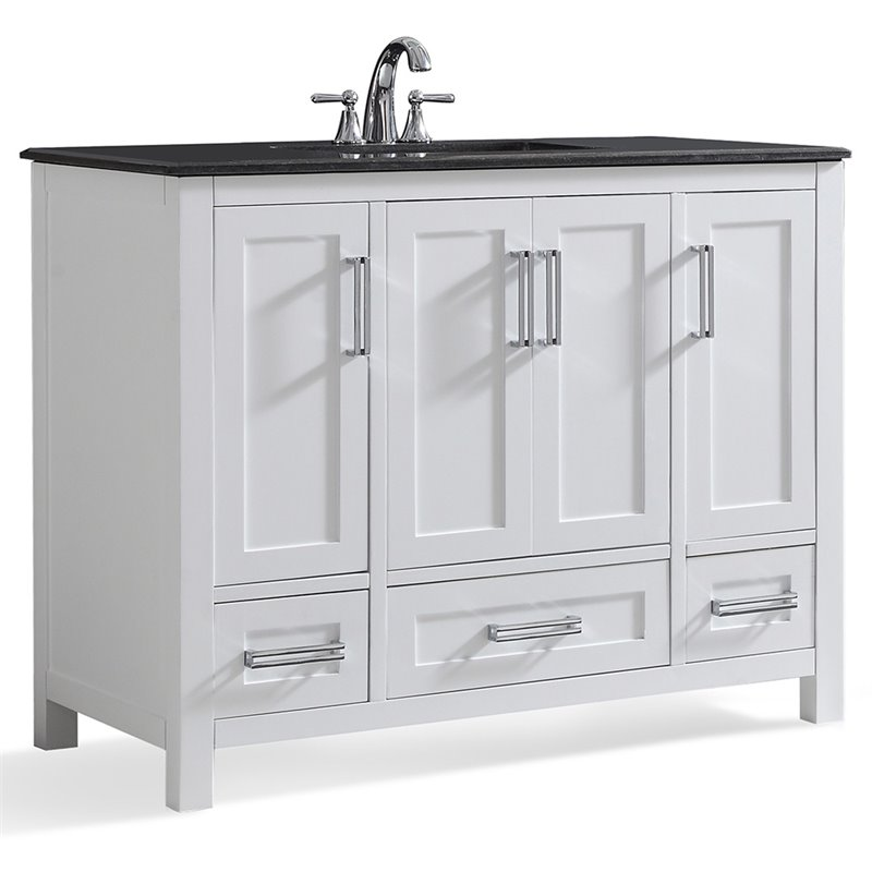 Simpli Home Evan 42 Black Granite Top Bathroom Vanity in White