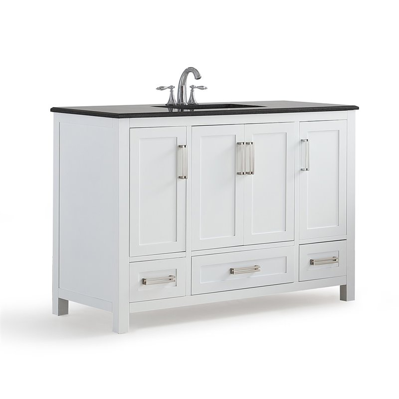 Simpli Home Evan 48 Black Granite Top Bathroom Vanity in White