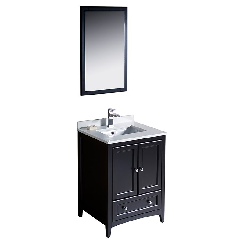 Fresca Oxford 24 Bathroom Vanity in Espresso-Versa in Brushed Nickel