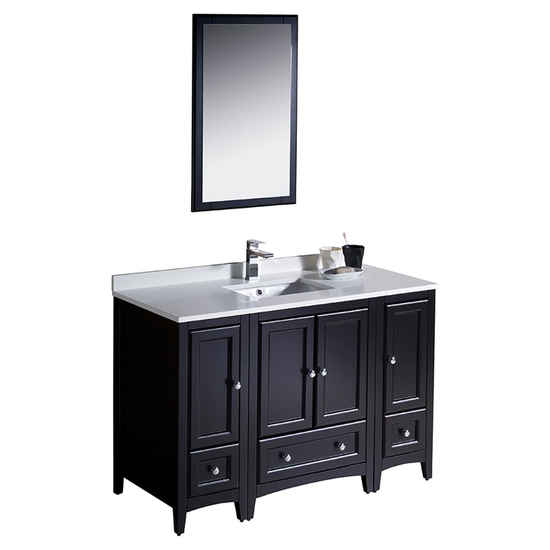 Fresca Oxford 48 Bathroom Vanity in Espresso-Versa in Brushed Nickel
