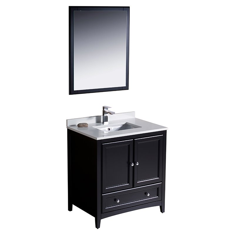Fresca Oxford 30 Bathroom Vanity in Espresso-Versa in Brushed Nickel