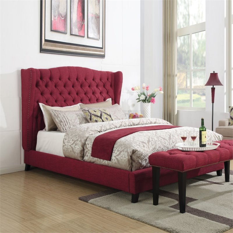 ACME Furniture Faye Linen King Bed in Red