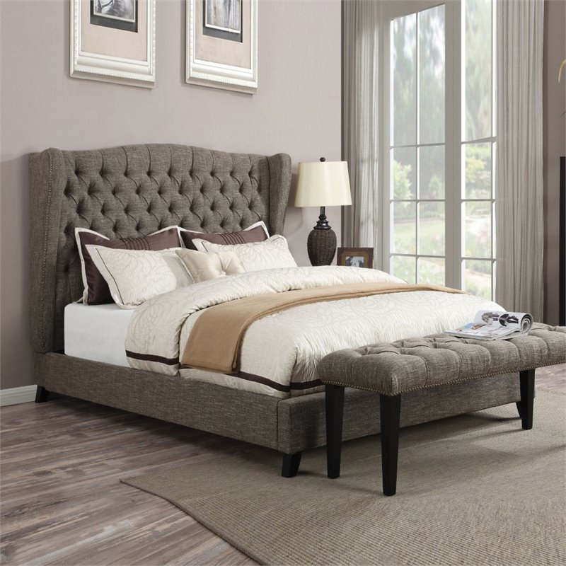 ACME Furniture Faye Linen King Bed in 2-Tone Chocolate