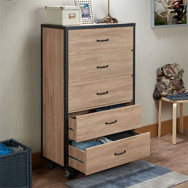 ACME Bemis 5 Drawer Chest in Weathered Light Oak