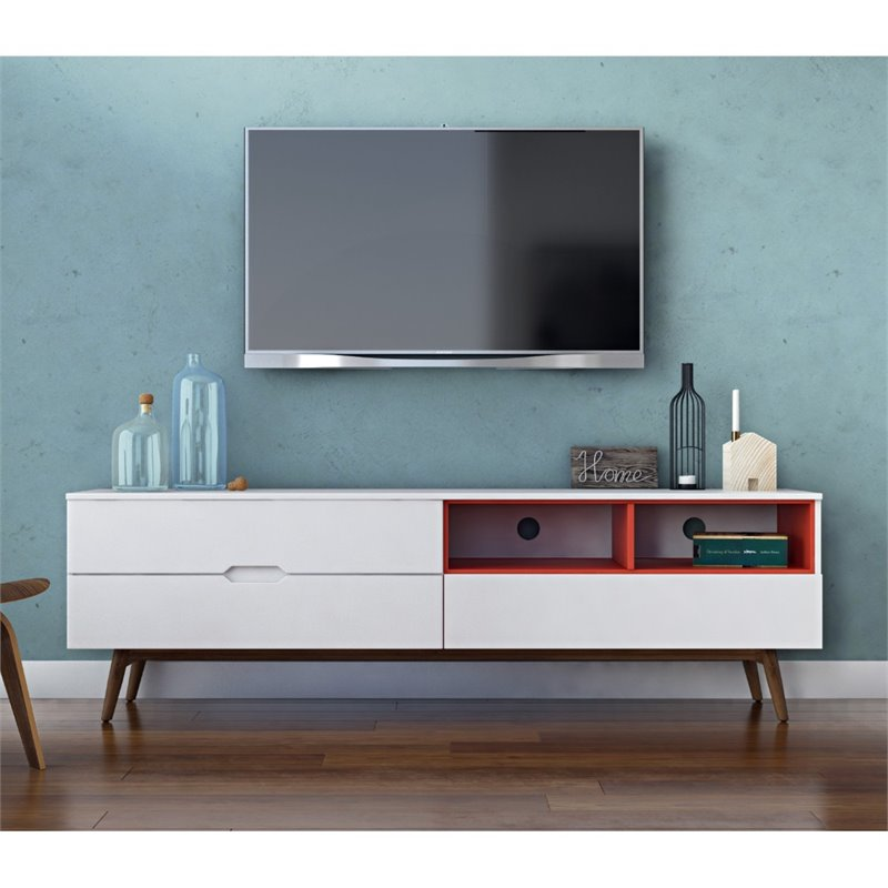 AEON Furniture Ramon 71 TV Stand in White and Orange