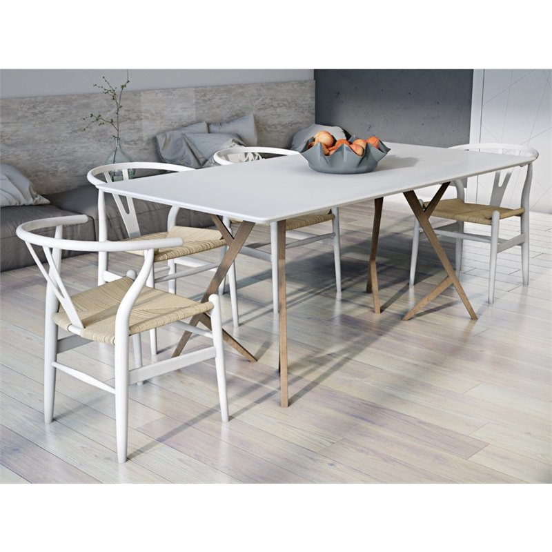 AEON Furniture Lene 5 Piece Dining Set in White and Ash