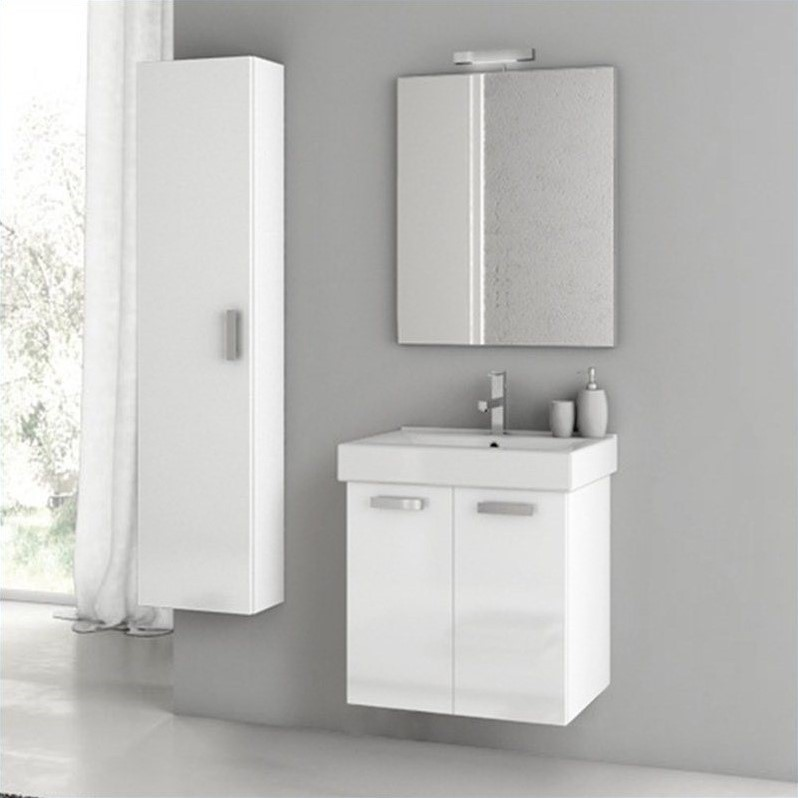 Nameek's Cubical 22 Wall Mounted Bathroom Vanity Set in Glossy White