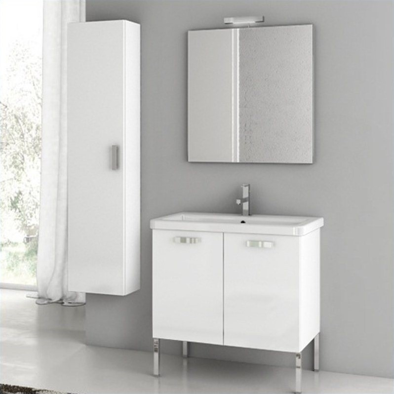 Nameek's ACF City Play 29 Standing Bathroom Vanity Set in Glossy White