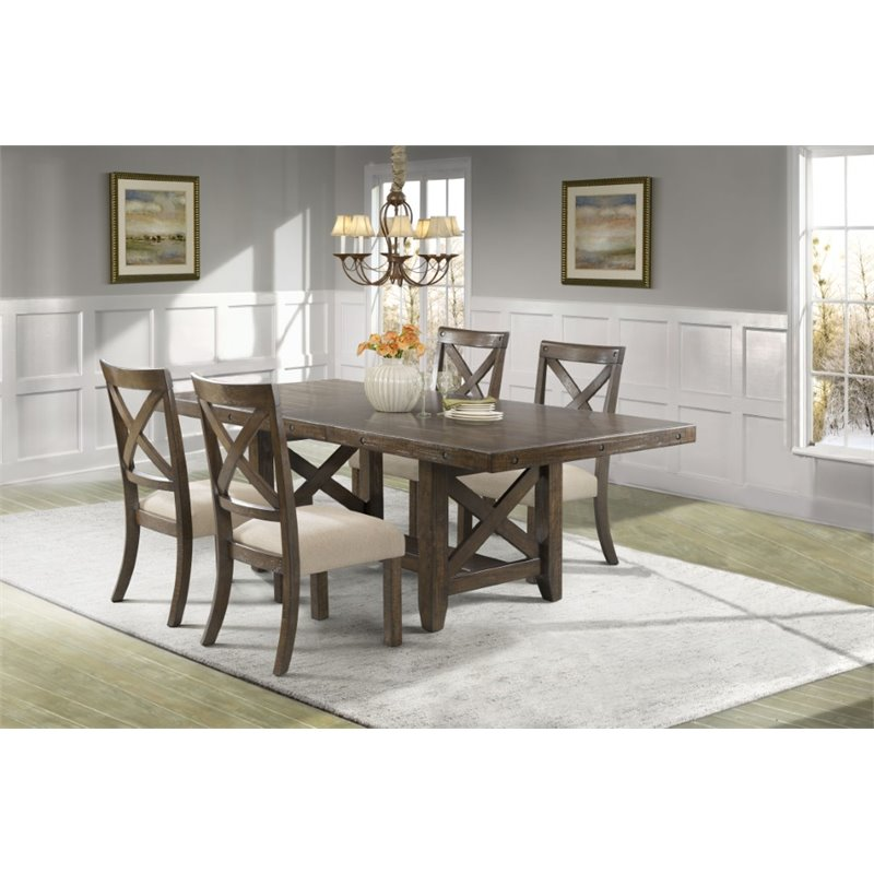 Picket House Furnishings Francis 5 Piece Dining Set in Chestnut